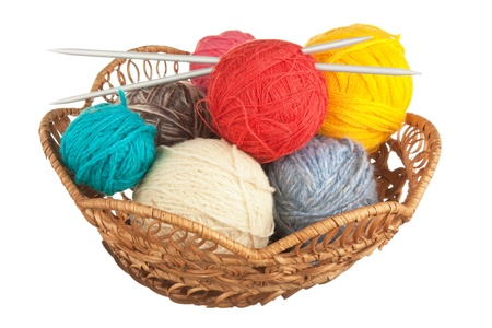 ball of wool and knitting needles in basket isolated on a white  background