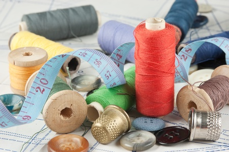 still life various sewing accessories in the scheme Stock Photo - 9058516