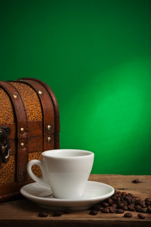 winnower: cup of coffee and a chest