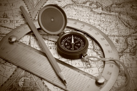 punting: compass and protractor on the map