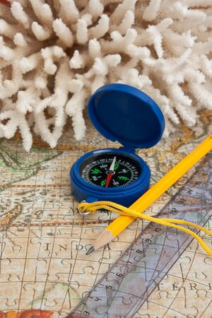 old map and compass, still life photo