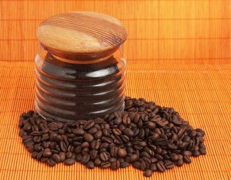 winnower: coffee beans on a background mat Stock Photo