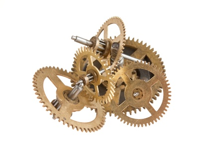 escapement: clockwork gears isolated on white background Stock Photo