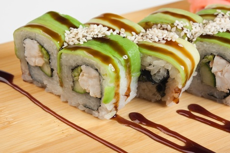 susi: Asian food sushi on wooden plate Stock Photo