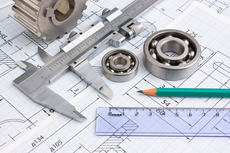 delineation: technical drawing and pinion with bearings