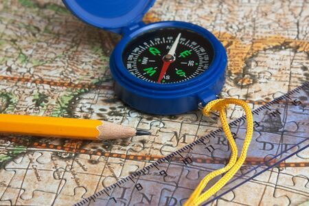 map and compass, still life photo