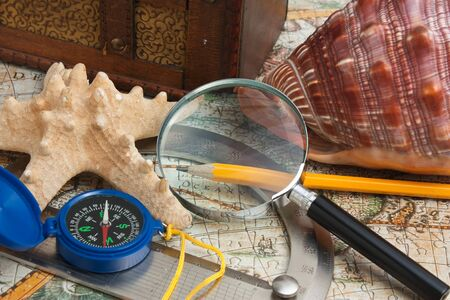 punting: map and starfish, still life
