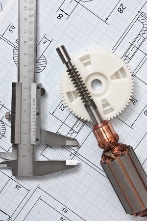 rotor electromotor and technical drawing photo