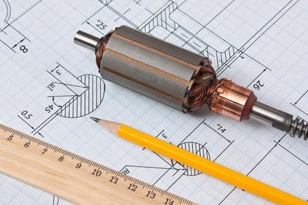 回転電気モーターや技術的な図面