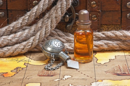 perfumery concept: Vials of perfume oils, still-life