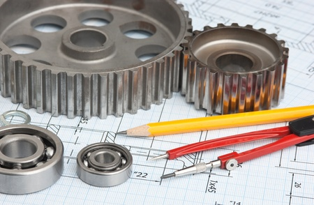 technical drawing and tools photo