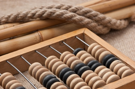 old wooden abacus on the background of bagging photo