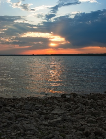 sunset on lake Stock Photo - 9734611