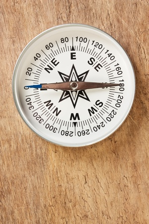 cartographer: compass on old wooden background