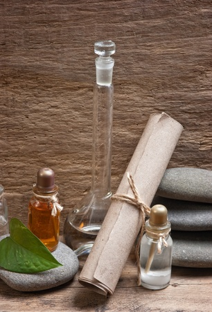 perfumery concept: Vials of perfume oils in old fragrance lab Stock Photo