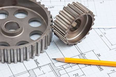 technical drawing and tools Stock Photo - 9829736