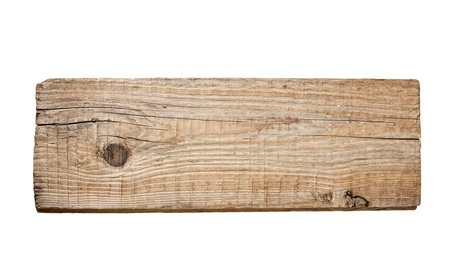 weathered: Old plank of wood  isolated on white background