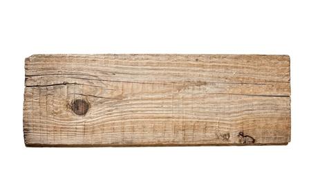 Vieille planche de bois isolée sur fond blanc