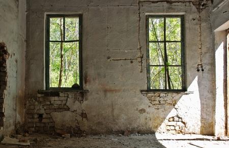 old abandoned house inside photo