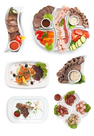 Set dish of assorted sausages and vegetables isolated on white background Stock Photo - 9956730