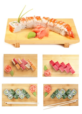 Set Asian food sushi on wooden plate isolated on white background photo