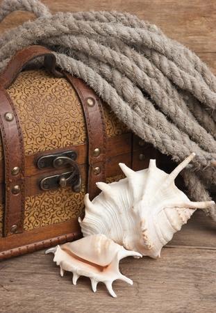 chest and seashell, still life photo