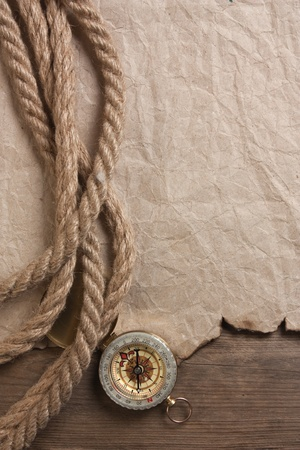 compass, old paper and rope, still-life Stock Photo - 9957654