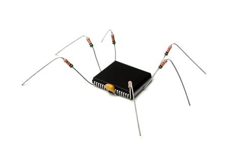 computer virus: estilizada virus inform�tico de componentes electr�nicos aisladas sobre fondo blanco