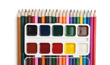 color pencils and watercolor paints  isolated on a white  background photo