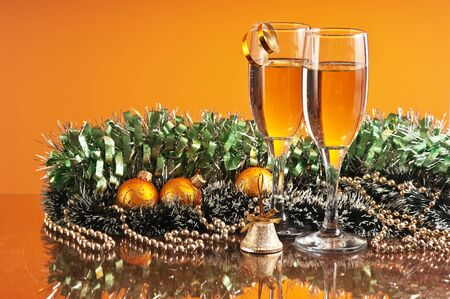 two glasses of wine and Christmas decoration photo