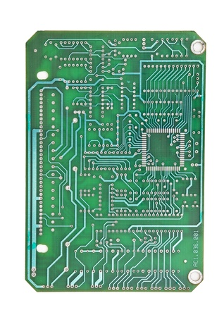 delineation: printed circuit board isolated on white background