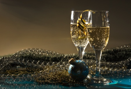 two glasses of wine and Christmas decoration Stock Photo - 10036179