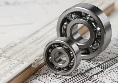 engineering drawing: mechanical scheme and calipers with bearing Stock Photo