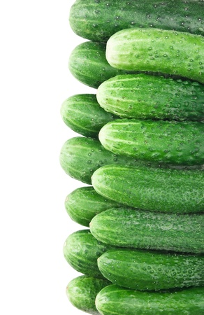 bunch of cucumbers isolated on white background Stock Photo