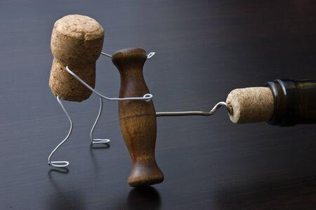 wine cork and corkscrew photo