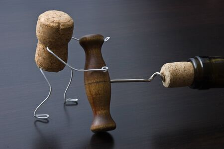animated action: wine cork and corkscrew