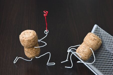 joking: office romance,two wine corks, dating