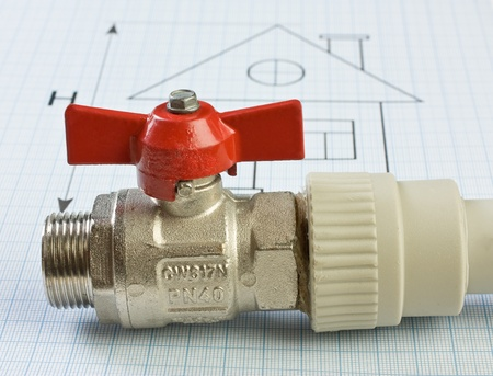 stop gate valve: plumbing fittings on the drawing Stock Photo