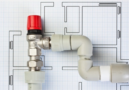 plumbing fittings on the drawing Stock Photo