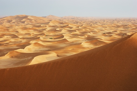 saudi arabia: sand dunes of the arabian desert at sunset