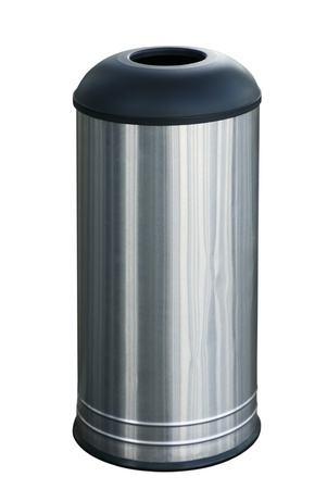 litterbin: Stainless steel garbage bin isolated on white background Stock Photo