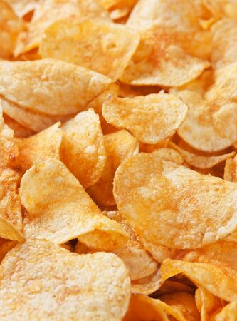 crispy potato chips background Stock Photo