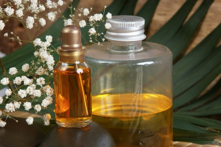 bottle of cosmetic oils, Spa still life  photo