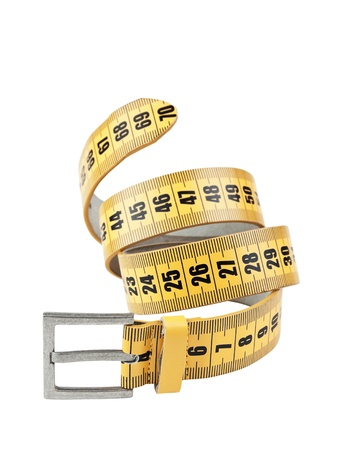 obesity: meter belt slimming isolated on a white background