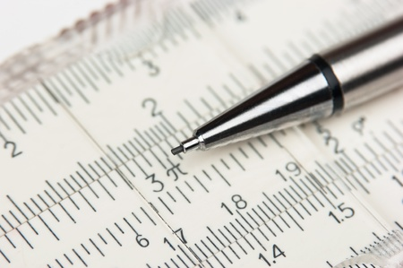 logarithmic: Vernier scale old logarithmic ruler and pencil