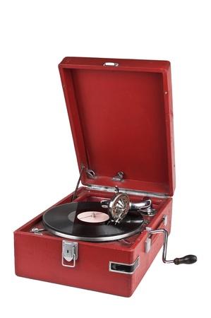 Vintage gramophone isolated on white background photo