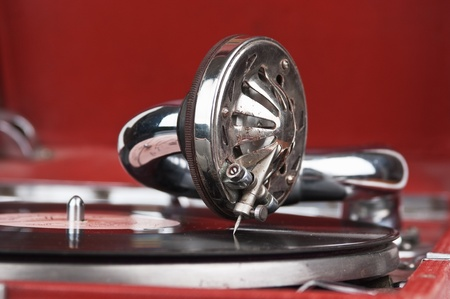 Vintage gramophone with a vinyl photo