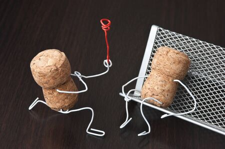 office romance,two wine corks, dating photo