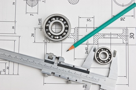 technical drawing and caliper with bearing Stock Photo - 11715002