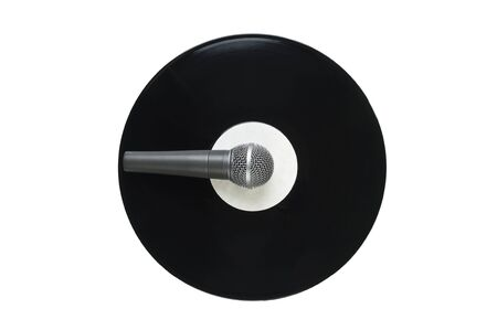 microphone and old vinyl record  isolated on white background photo